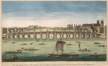"""Vue D'Optique: Westminster Bridge. c.1770. An original hand coloured antique copper engraving. 9"""" x 14"""". [LDNp9689]"""