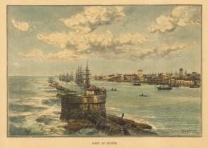 """Reclus: Recife. 1894. A hand coloured original antique wood engraving. 7"""" x 5"""". [SAMp1456]"""