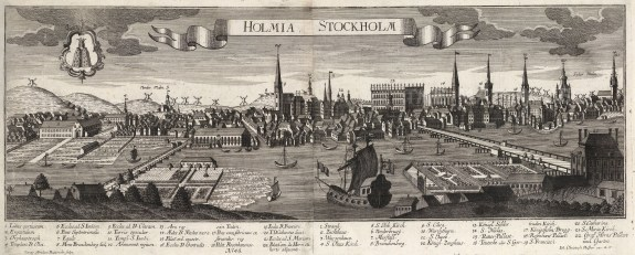 Panorama of the city in the same year the Treaty of Stockholm ended the twenty year Great Northern War. With key.
