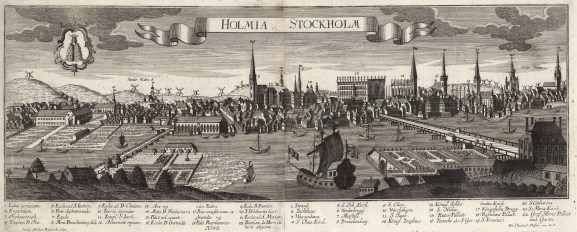 Stockholm: Panorama of the city in the same year the Treaty of Stockholm ended the twenty year Great Northern War. With key.