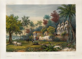 Chandannagar: View of the Dina Marlinga temple on the banks of the river near Chandannagar. After Theodore-Auguste Fisquet, artist on the voyage of La Bonite 1836-7.