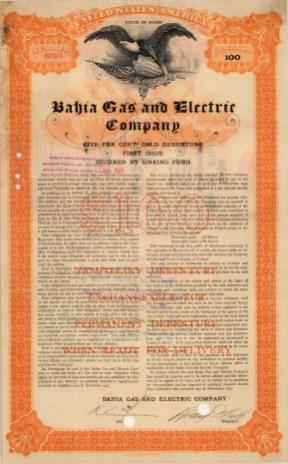 "Broun-Green Co.: Bahia Gas and Electric Company, Forty Year Debenture. 1905. An original colour antique mixed-method engraving. 9"" x 14"". [BONDp6]"