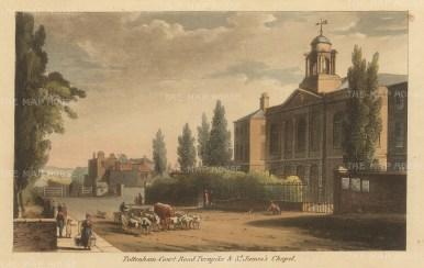 "Papworth: Tottenham Court Road. 1816. An original colour antique aquatint. 8"" x 6"". [LDNp7875]"