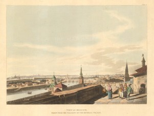 View of Moscow from Balcony of the Imperial Palace before the fire of 1812. After Guerard de la Barthe.