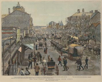 "Graphic Magazine: Johannesburg. 1891. A hand coloured original antique wood engraving. 12"" x 10"". [AFRp1219]"