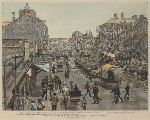 "Graphic Magazine: Johannesburg. 1891. A hand coloured original antique wood engraving. 12"" x 10"". [AFRp1219]"