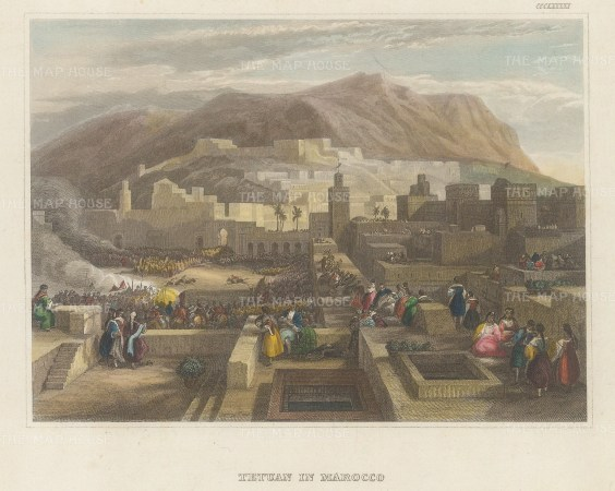"Meyer: Tetuan, Morocco. 1836. A hand coloured original antique steel engraving. 7"" x 6"". [AFRp1314]"