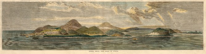 Freetown, Sierra Leone: Tagrin Bay and coastline. Base of the Royal Navy West African squadron.