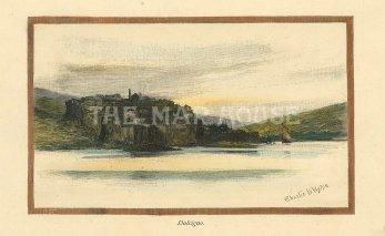 "Picturesque Mediterranean: Dulcigno, Montenegro. c1880. A hand coloured original antique wood engraving. 5"" x 3"". [CEUp501]"