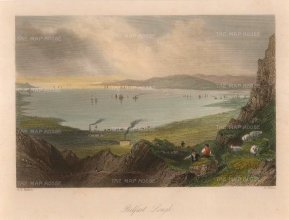 "Bartlett: Belfast Lough. 1841. A hand coloured original antique steel engraving. 8"" x 6"". [IREp654]"