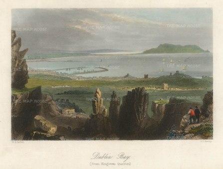 "Bartlett: Dublin. 1841. A hand coloured original antique steel engraving. 8"" x 6"". [IREp683]"