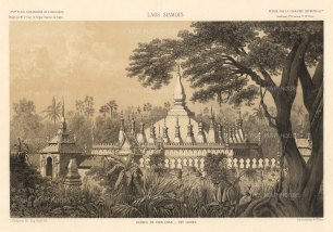 Laos. Vietiane, Pha That Luang temple after the drawing by Louis Delaporte during Francis Garnier's expedition into Southeast Asia. The temple was reconstructed after being destroyed by Thai forces and rebuilt using Delaporte's drawings.