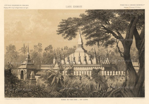 Laos: Vietiane, Pha That Luang temple after the drawing by Louis Delaporte during Francis Garnier's expedition into Southeast Asia. The temple was reconstructed after being destroyed by Thai forces and rebuilt using Delaporte's drawings.