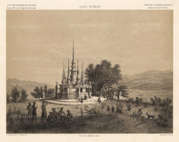 Laos. Muong Long. View of the temple after the drawing by Louis Delaporte during Francis Garnier's expedition into Southeast Asia.