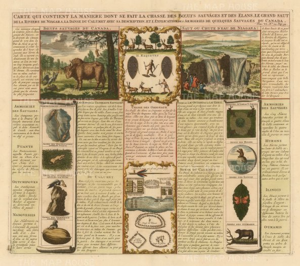 Buffalo and Elk hunting, Niagara Falls, Arms of Native Indians with explanatory text in French.