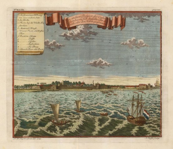 """Hoffer: Colombo. 1735. A hand coloured original antique copper engraving. 11"""" x 9"""". [INDp833]"""
