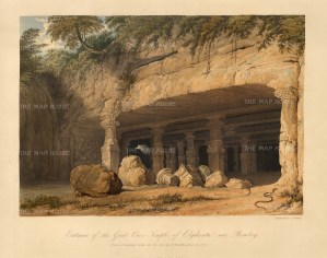 Grindlay: Elephanta Island, Mumbai. 1826. An original antique aquatint. 13 x 10 inches. [INDp838]
