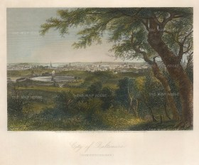 """Picturesque America: Baltimore, Maryland. 1873. A hand coloured original antique steel engraving. 9"""" x 8"""". [USAp4430]"""