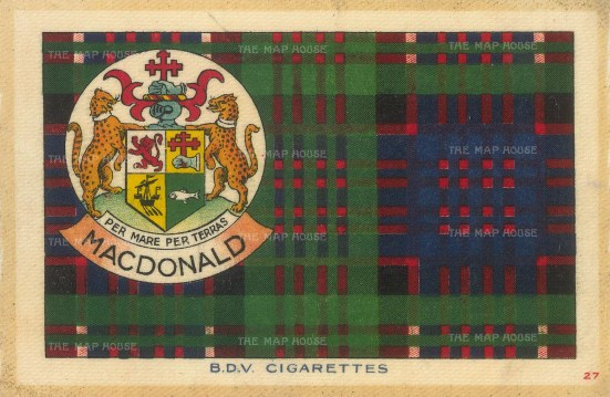 MacDonald tartan with arms and motto 'Per Mare Per Terras'.