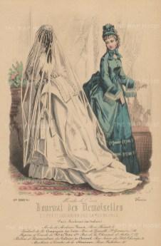 "Journal Des Demoiselles: Wedding dress and travelling dress. c1860. An original colour antique steel engraving. 7"" x 10"". [DECp869]"