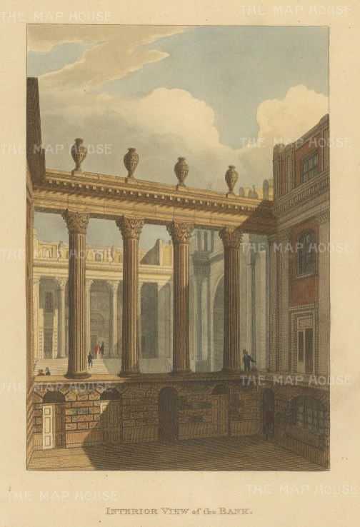 "Papworth: Bank of England. 1816. An original colour antique aquatint. 5"" x 8"". [LDNp6929]"