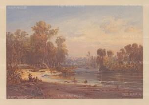 "Hildebrandt: Pilgerbad, Jordan. c1874. An original antique chromolithograph. 17"" x 11"". [MEASTp1461]"