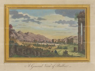 "Moll: Baalbec. 1745. A hand coloured original antique copper engraving. 12"" x 7"". [MEASTp1462]"