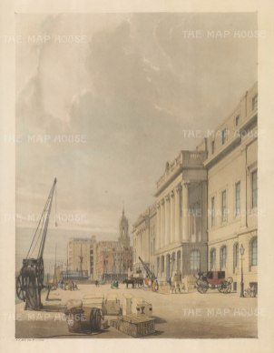 Custom House. Showing cargo awaiting shipping with the spire of St Magnus in the background. An erased signature is visible lower left hand corner.