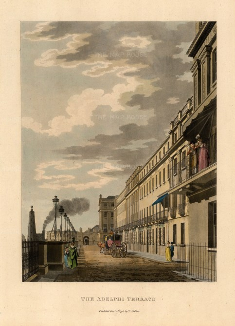 "Malton: Adelphi Terrace. 1792. A hand coloured original antique aquatint. 11"" x 14"". [LDNp2986]"