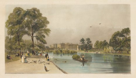 Buckingham Palace from St James's park. Showing the south walls of the palace and Marble Arch.