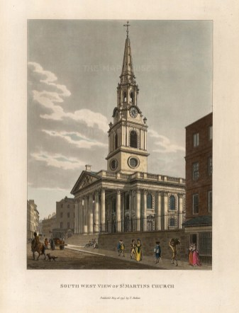 "Malton: St. Martin-in-the-Fields. 1792. A hand coloured original antique aquatint. 11"" x 14"". [LDNp6503]"