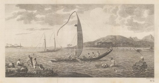 Matavai Bay with Tahitian boats. Ivahahs are wall-sided, flat-bottomed and for short excursions; Pahies are bow-sided, sharp-bottomed and for longer voyages. After Sydney Parkinson, artist of the First Voyage.