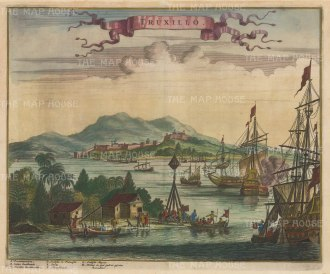 Truxillo, Honduras: Panoramic view of the capital, and mouth of the Gulf of Honduras.