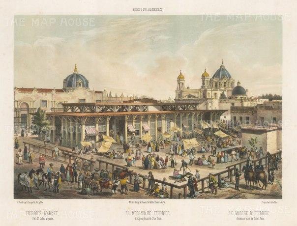 Mexico City: Plaza de San Juan. View of the Iturbide Market.