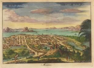 "Bellin: Mexico City. c1750. A hand coloured original antique copper engraving. 10"" x 5"". [MEXp234]"