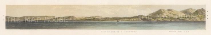 """Capt. Andrews: Port Muriel. 1860. An original colour antique lithograph. 12"""" x 3"""". [MEXp91]"""