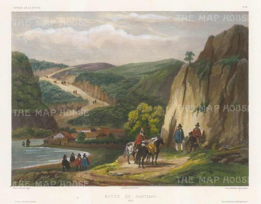 Chile: Road to Santiago. View along a small bay. After Barthelemy Lauvergne, artist on the voyage of La Bonite 1836-7.