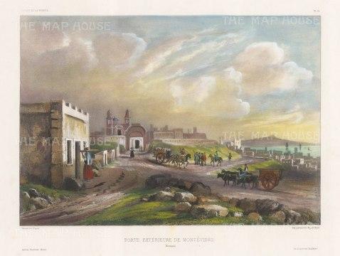 "Vaillant: Montevideo, Uruguay. c1850. A hand coloured original antique lithograph. 15"" x 10"". [SAMp1278]"