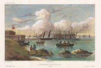 "Vaillant: Montevideo, Uruguay. c1850. A hand coloured original antique lithograph. 15"" x 10"". [SAMp1282]"