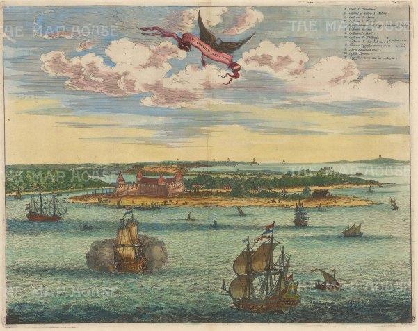 Sao Salvador: Panorama of the city and Baia de Todos los Santos. With key in Latin.