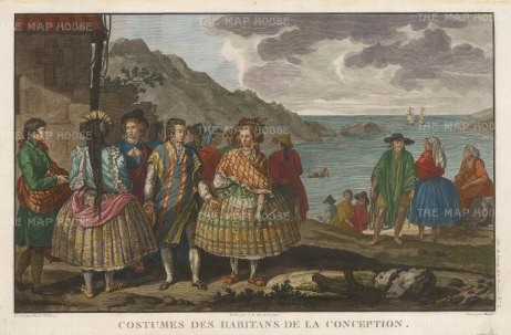 "La Perouse: Conception, Chile. 1798. A hand coloured original antique copper engraving. 16"" x 11"". [SAMp168]"