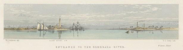 "Andrews: Demerara, Guyana. 1860. An original colour antique lithograph. 12"" x 4"". [SAMp374]"
