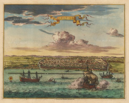 Java: Bantam (Banten). Panorama of the city with galleons in the bay (possibly depicting the 1601 Dutch victory over the Portuguese). The most important port for the spice trade until the late 18th century when its harbour silted up.