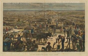 "Illustrated London News: Diamond Mining. 1872. A hand coloured original antique wood engraving.19"" x 14"". [AFRp1317]"