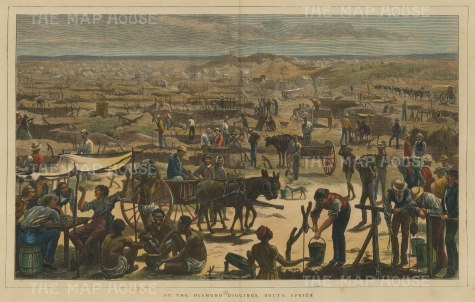 "Illustrated London News: Diamond Mining. 1872. A hand coloured original antique wood engraving.19"" x 14"". [AFRp1317]"