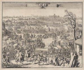 PAIR Reception of HRH the Prince of Orange on entering London shown with a pre-Great Fire of 1666 skyline.: De Hoogh,, a great propogandist of William III, used the sketches of his draughtsman Hekhuisan as the raw material for this view.