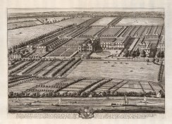Old Chiswick House, Chiswick. Seat of Charles Boyle. Aerial view of house & gardens. Old Chiswick House was demolished in 1788.
