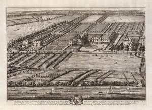 Old Chiswick House, Chiswick: Seat of Charles Boyle: Aerial view of house & gardens. Old Chiswick House was demolished in 1788.