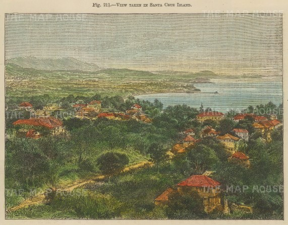 "Reclus: Santa Cruz Island, Galapagos Islands. 1894. A hand coloured original antique wood engraving. 7"" x 5"". [SAMp1062]"
