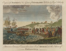 Patagonia: Commodore Lord Byron interviewing the natives, said to be twice the height of Europeans.
